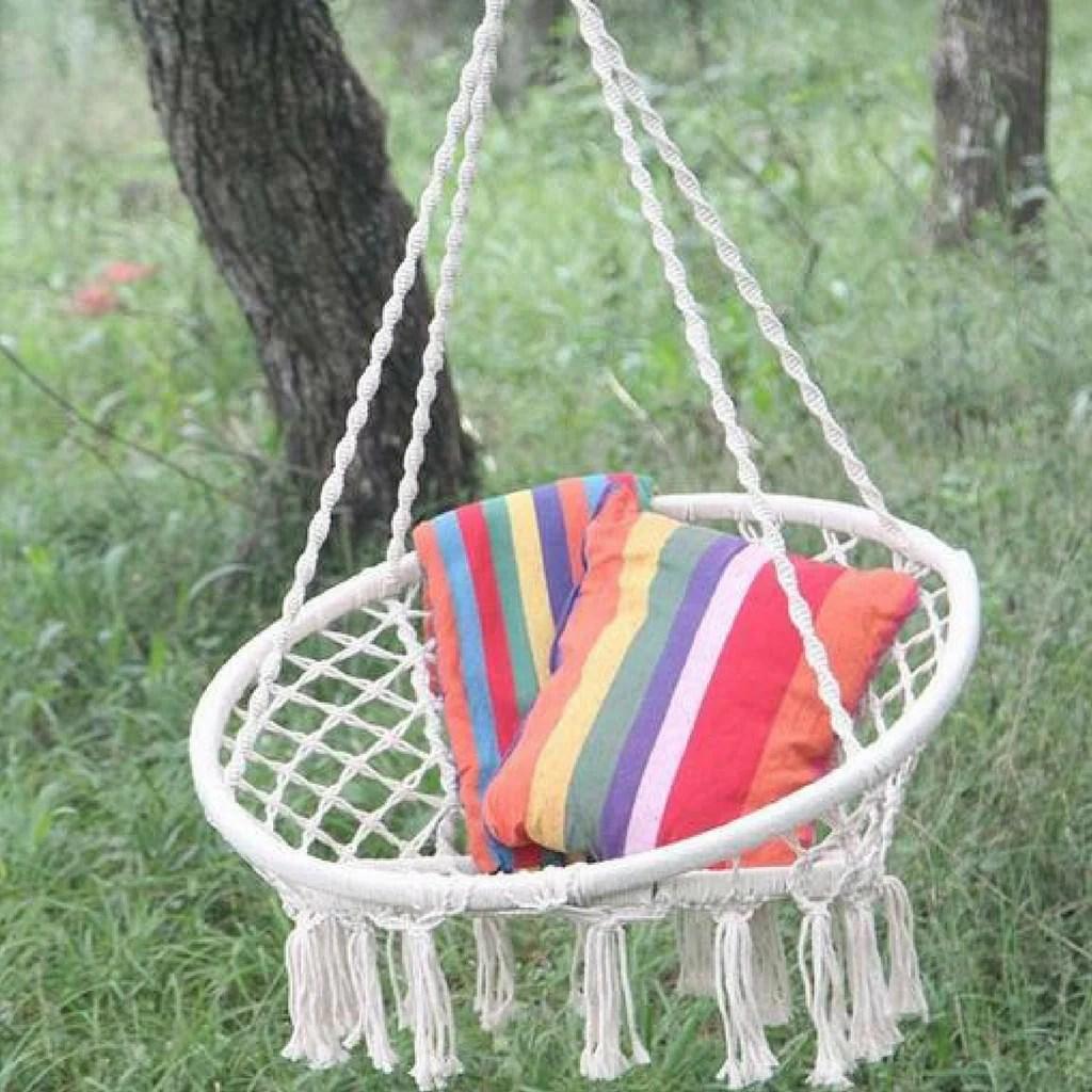 white bohemian hanging chair ivory spandex covers wholesale handmade boho hammock swing  creations hut
