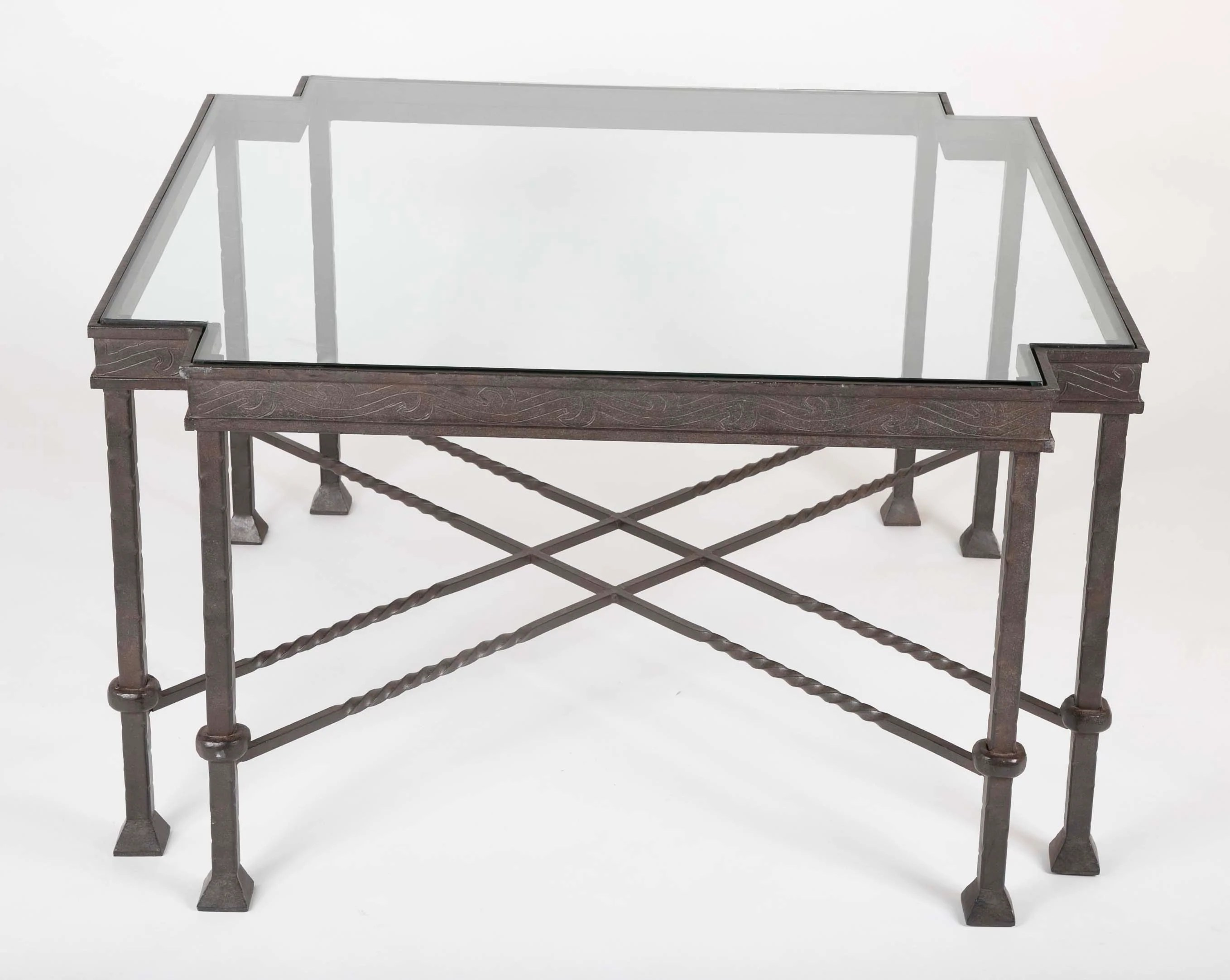late mid century glass top wrought iron coffee table