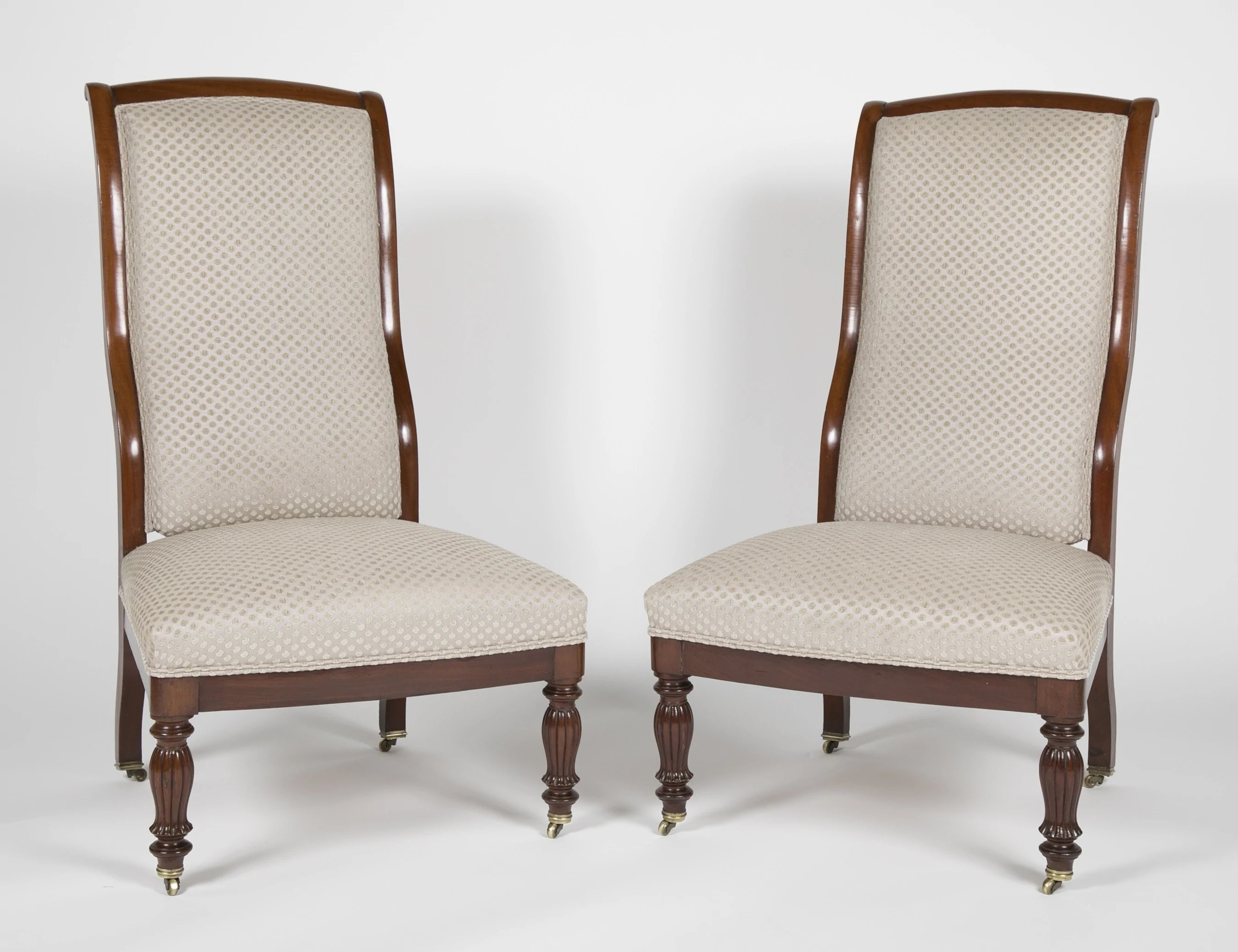 Matched Pair Of Early Louis Philippe Mahogany Slipper Chairs