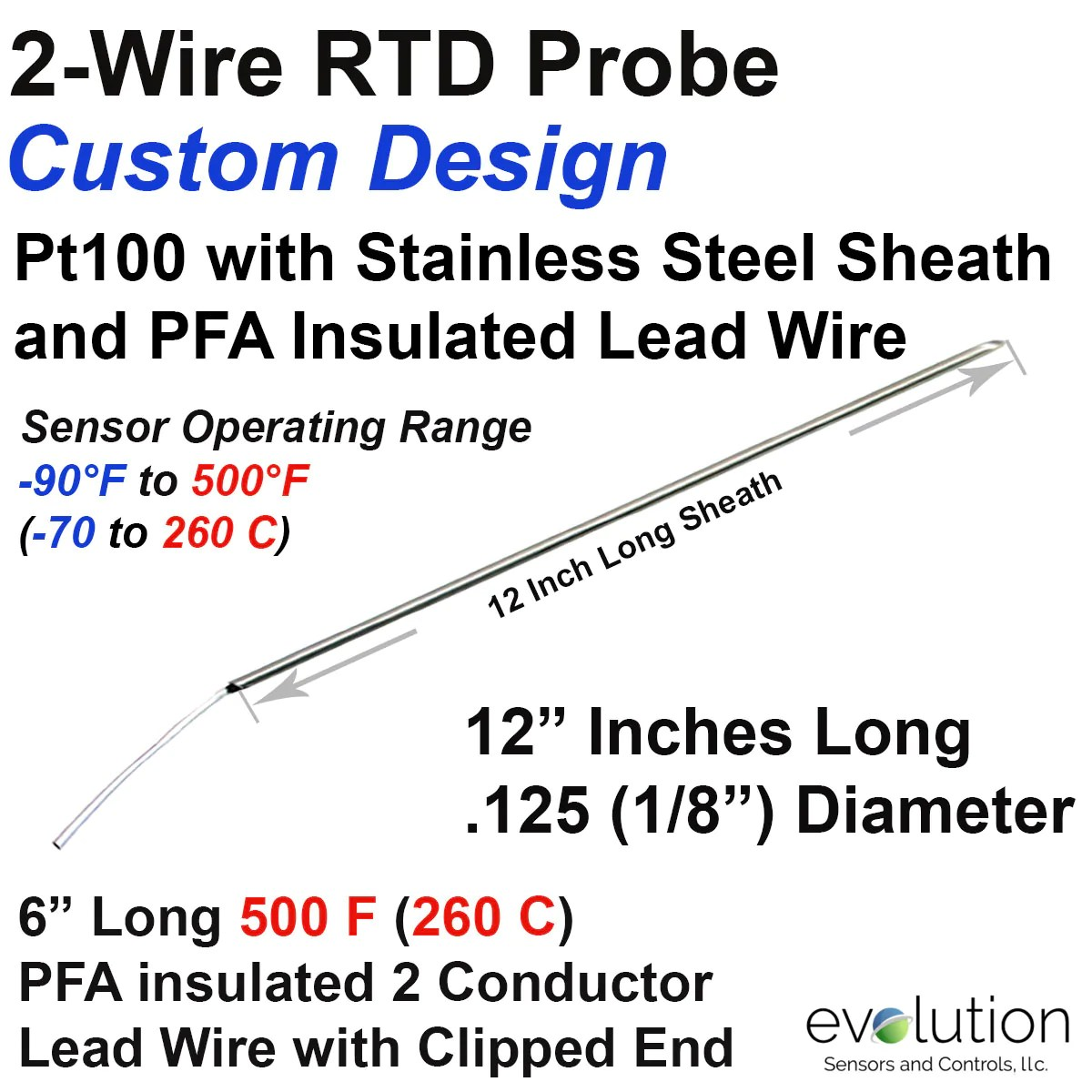 2 wire rtd probe 12 long x 1 8 diameter stainless steel sheath with 6 inches of pfa insulated wire [ 1200 x 1200 Pixel ]