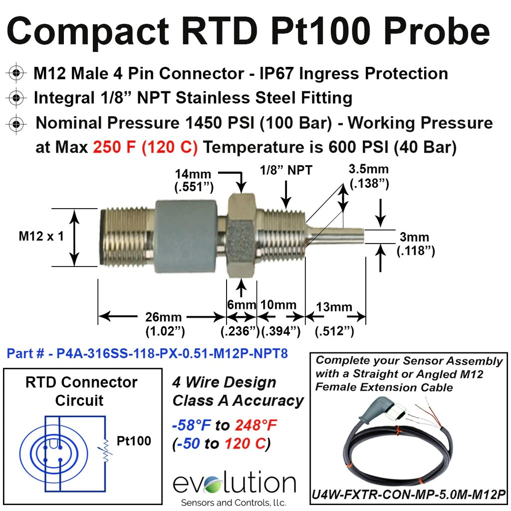 compact rtd probe m12 connector 1 8 npt fitting 1 2 long 3 mm diameter 4 wire class a accuracy [ 1024 x 1024 Pixel ]