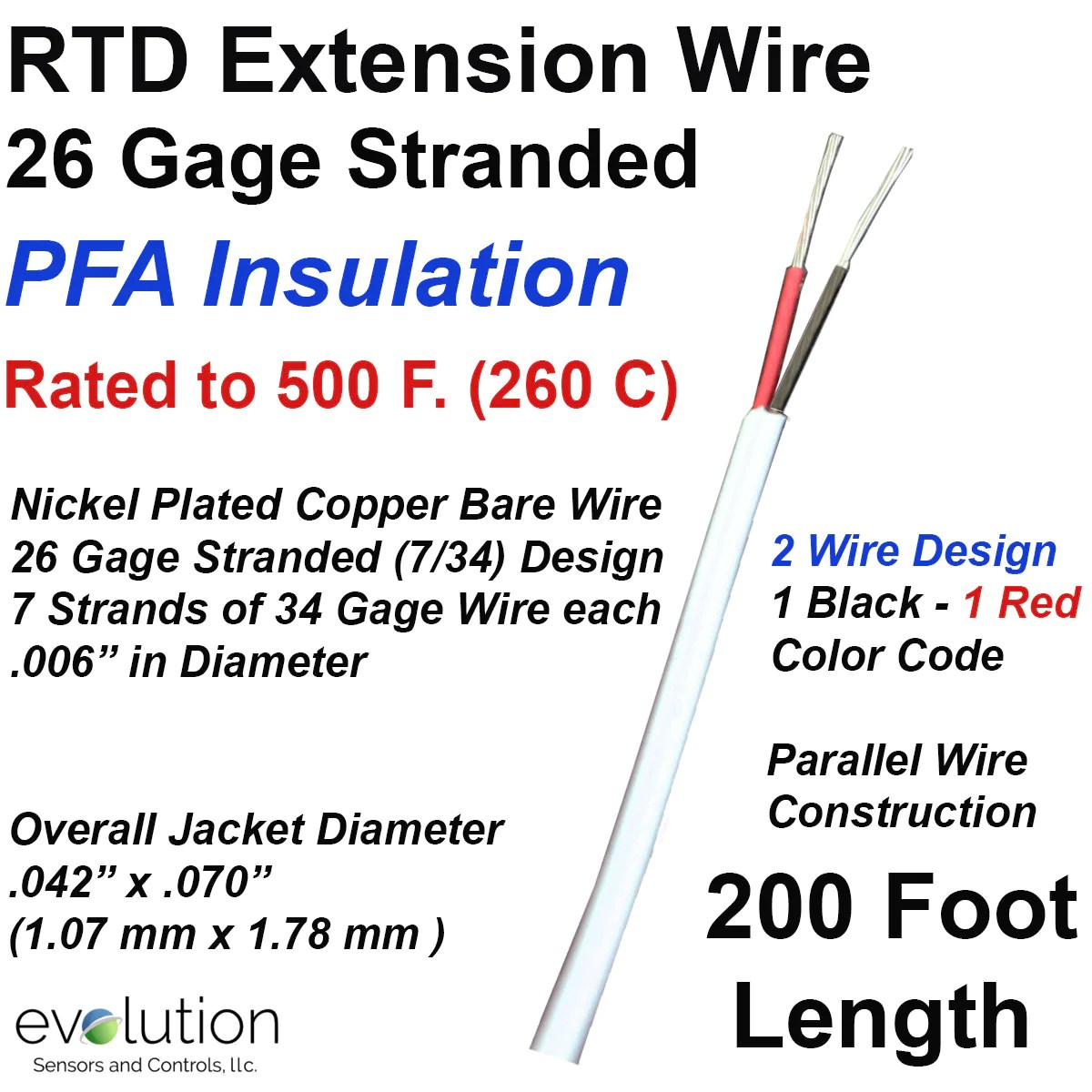 hight resolution of rtd extension wire 200 foot length 26 gage stranded 2 wire design rtd wiring color code