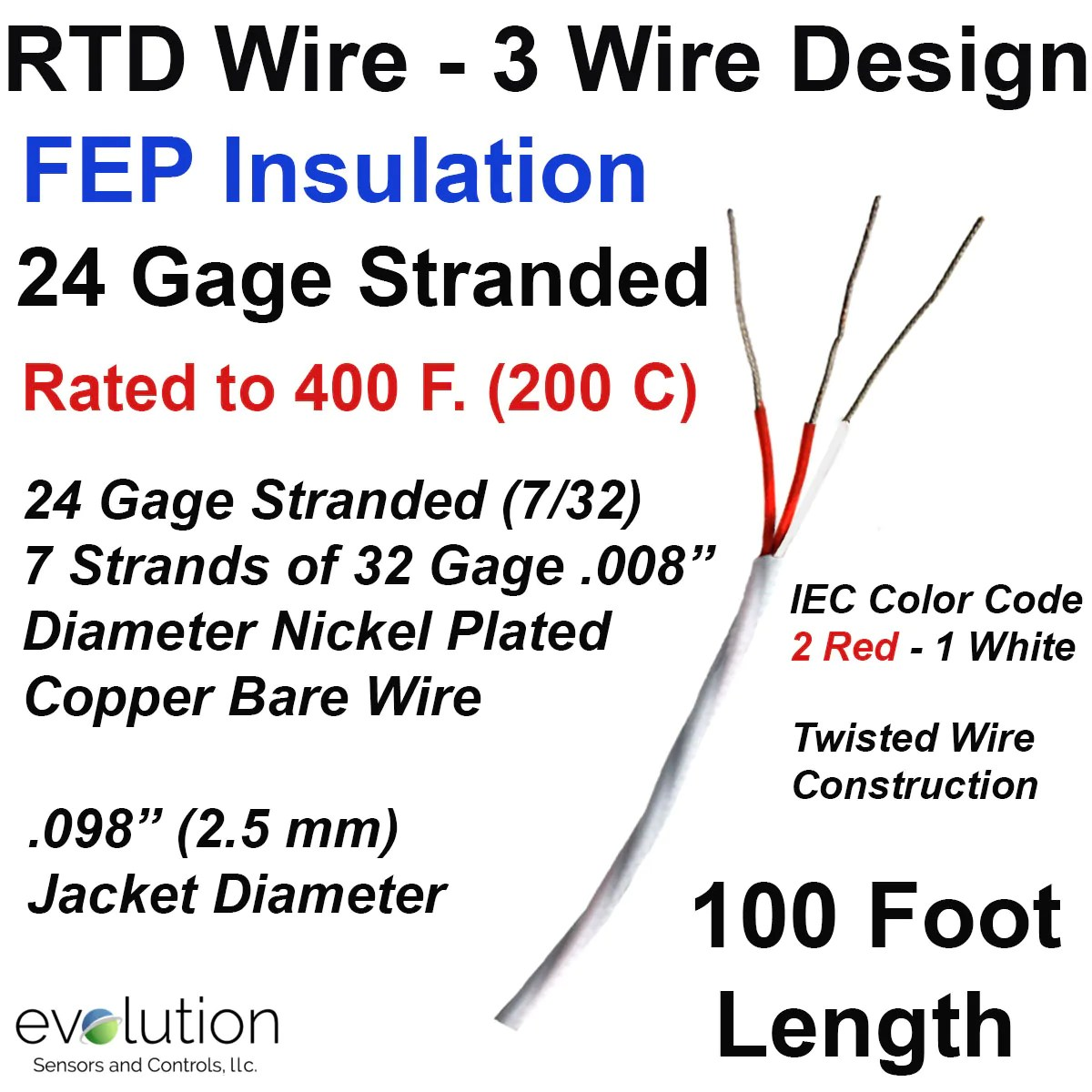 rtd wire 3 wire design 24 gage stranded with fep insulation 100 2 wire rtd color [ 1200 x 1200 Pixel ]