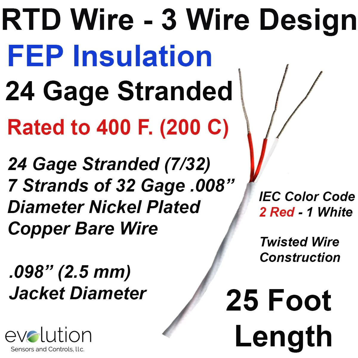 small resolution of rtd wire 3 wire design 24 gage stranded with fep insulation 25 rtd wiring color code
