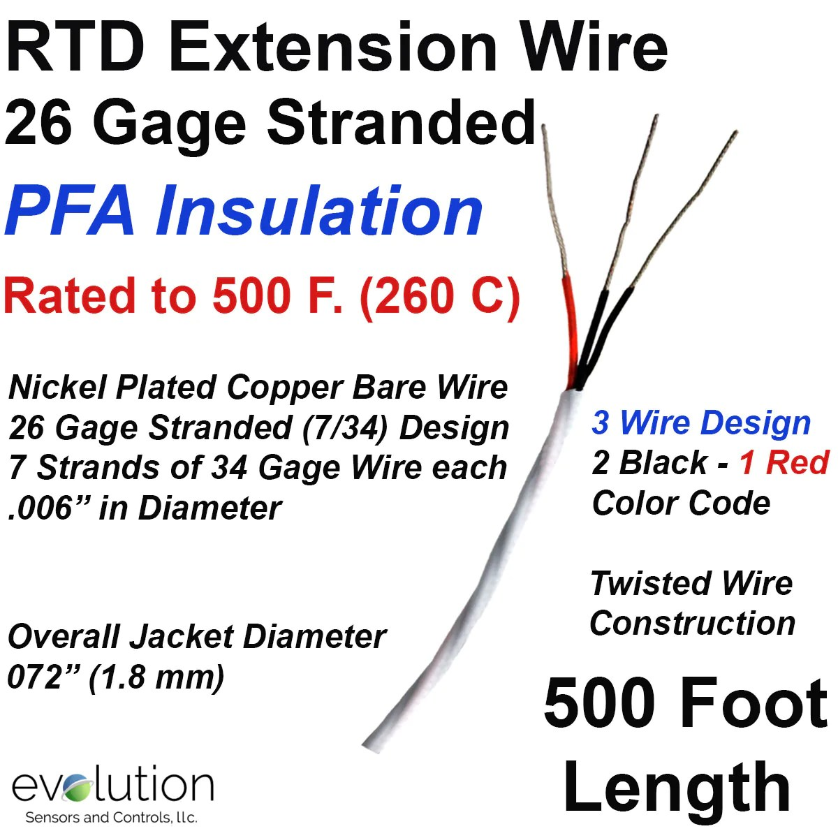 small resolution of rtd extension wire 500 foot length 26 gage stranded 3 wire design type j thermocouple wire color rtd wiring color code