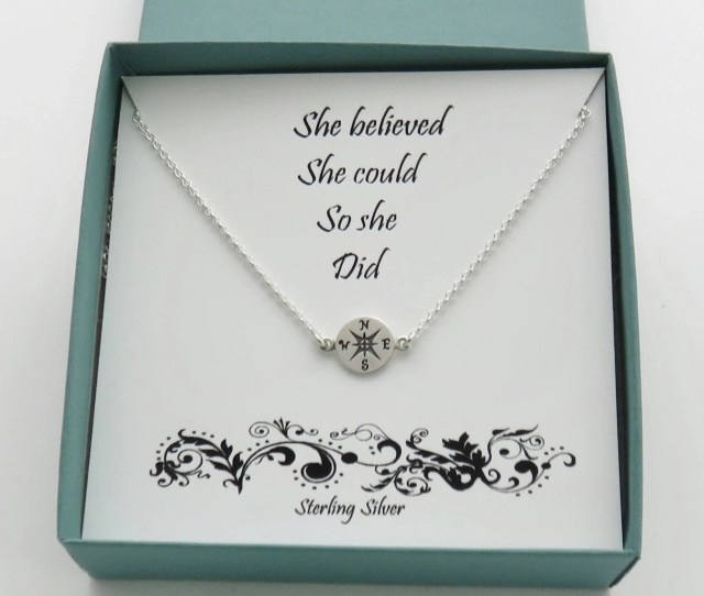 Sterling Silver Compass Necklace Graduation Gift For Her Handmade Jewelry