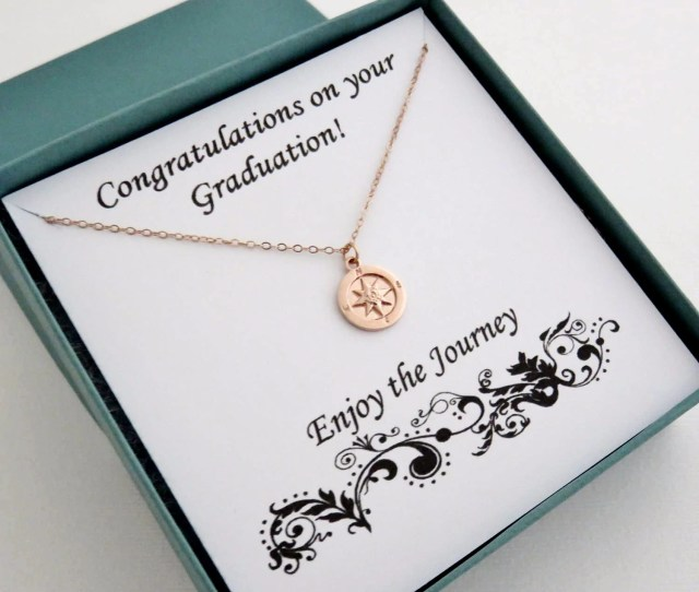 Rose Gold Compass Necklace Graduation Gift Handmade Jewelry