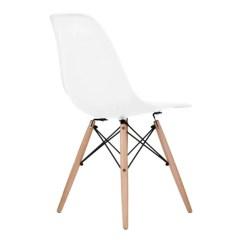 Eames Style Plastic Chair Cover Rental Detroit White Molded Dowel Leg Dining Side Wood Base Dsw