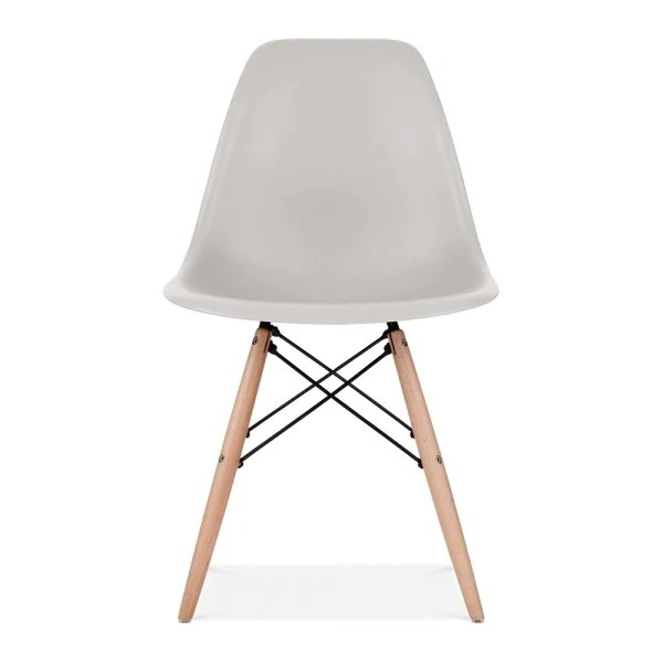 eames style plastic chair massage therapy chairs light gray molded dowel leg dining side wood base dswchairs com
