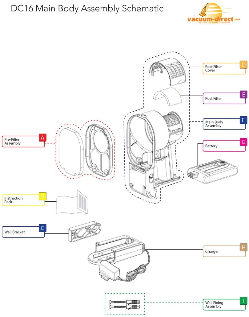 hight resolution of dyson dc16 main body parts diagram