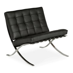 Barcelona Chair Leather Stand Older Adults Black Replica The Design Edit