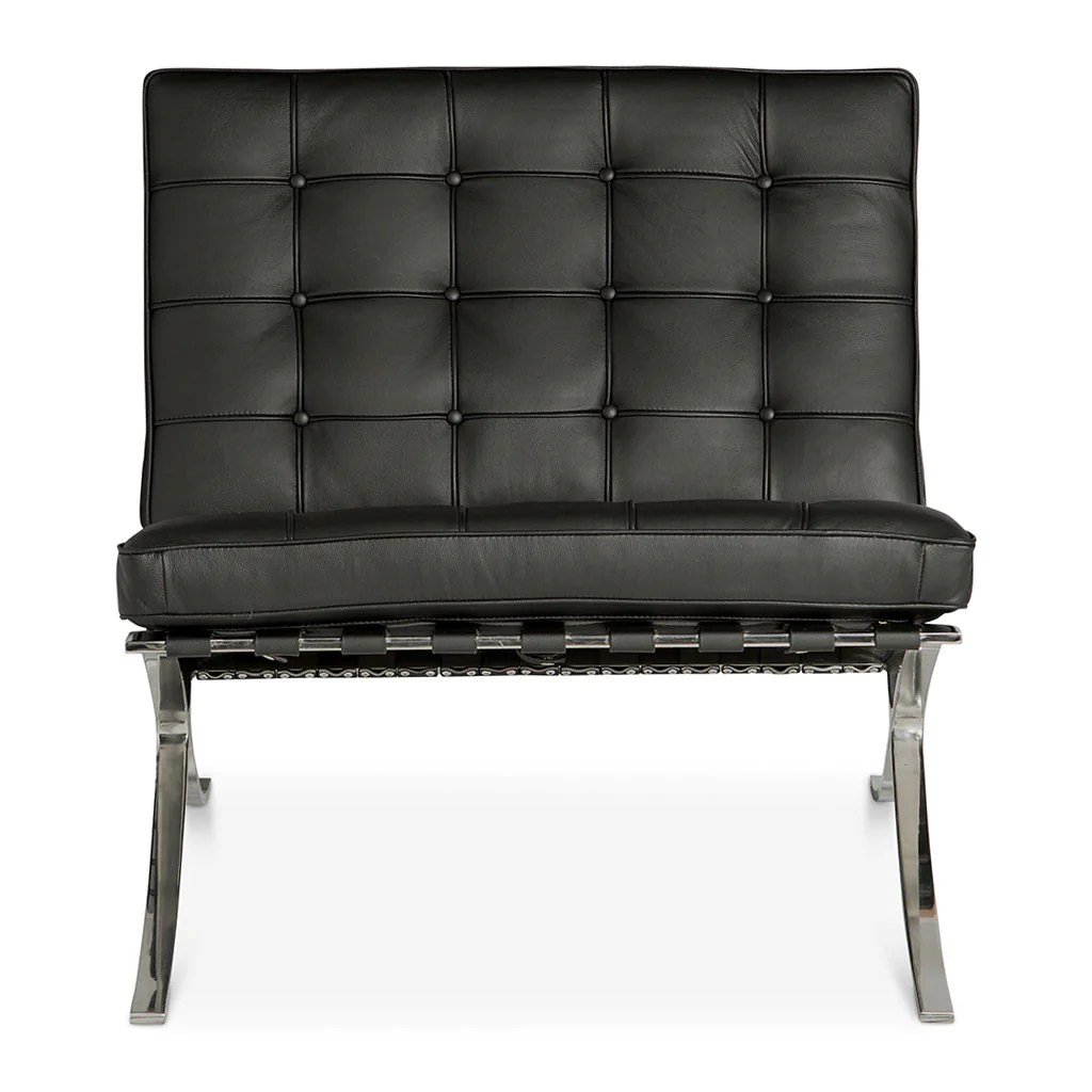Barcelona Chair Reproduction Black Barcelona Chair Replica The Design Edit