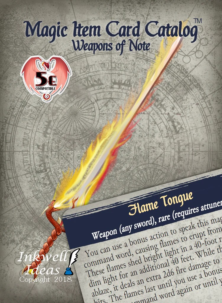 Magic Item Card Catalog 5e Weapons of Note  Inkwell Ideas