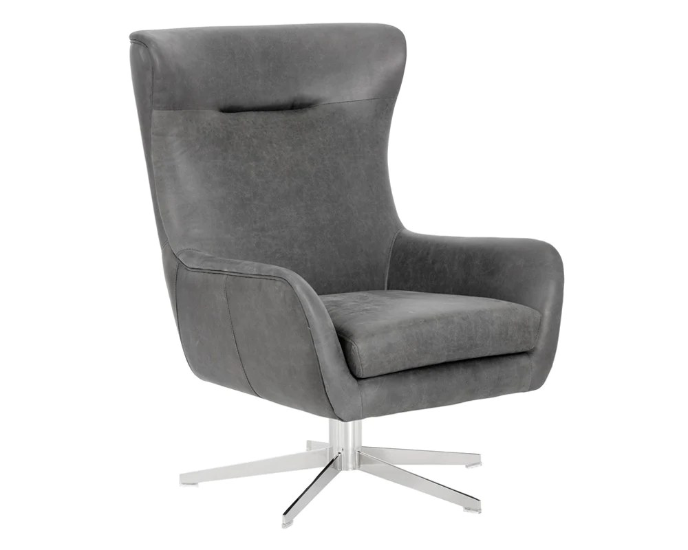Modern Leather Chairs Jude Profundo Black Leather Swivel Chair
