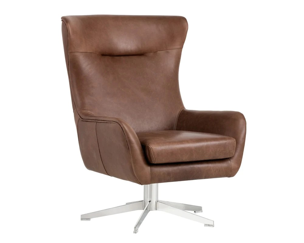 Modern Leather Chairs Jude Profundo Sepia Brown Leather Swivel Chair