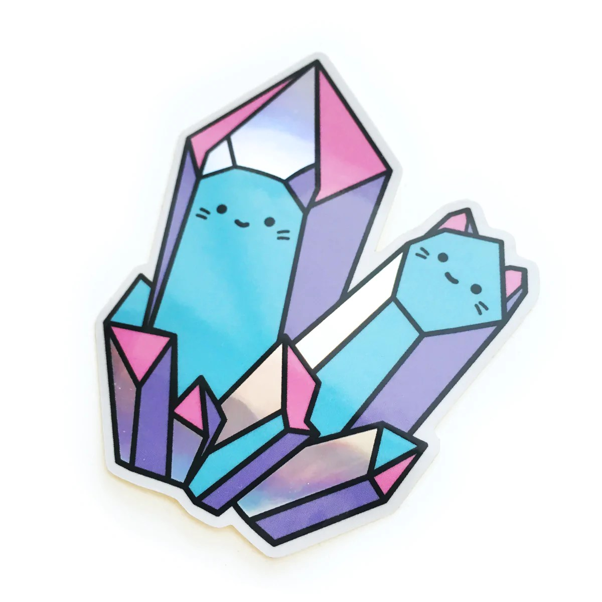 rainbow crystal cats holographic