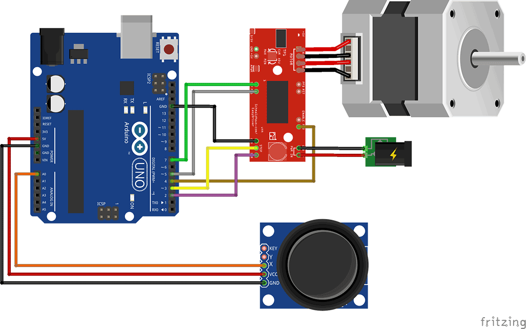 For Usb Power Pack Wiring Diagram Control A Stepper Motor Using A Joystick And Arduino