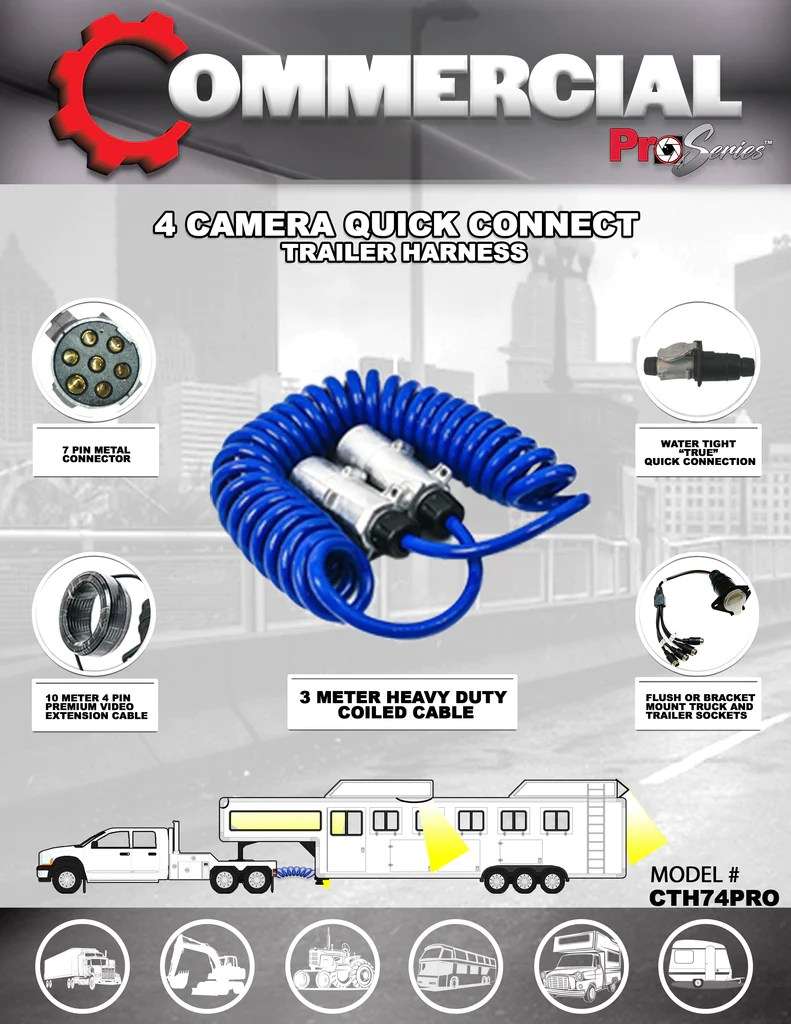 medium resolution of 4 camera trailer harness part cth74pro