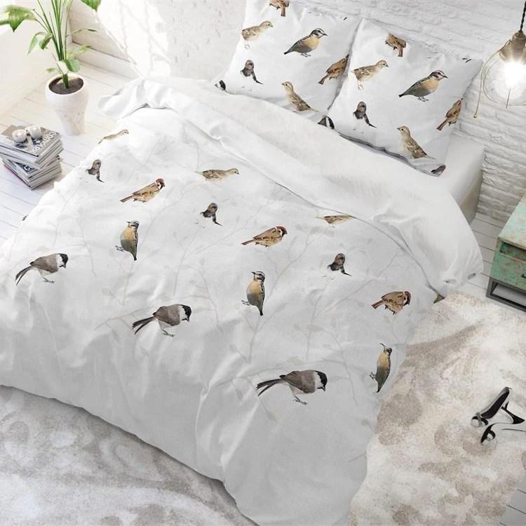 Dekbedovertrek Vogels Wit