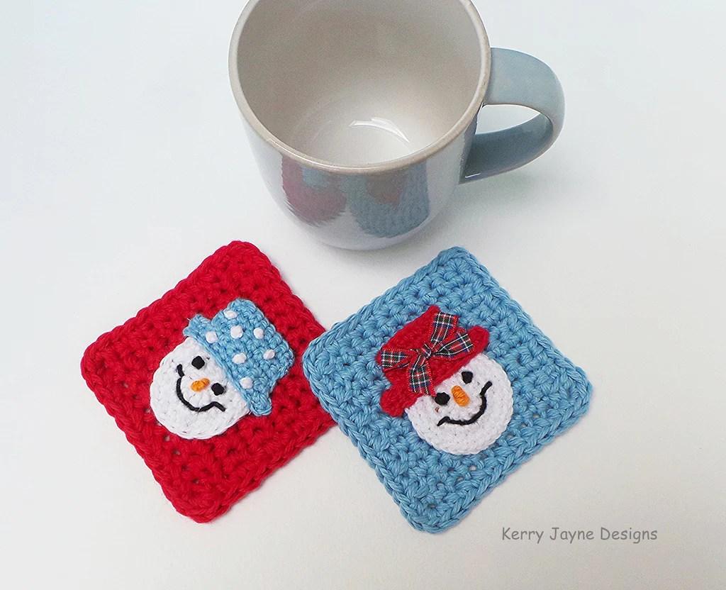 Snowman Coasters Crochet Pattern Kerry Jayne Designs