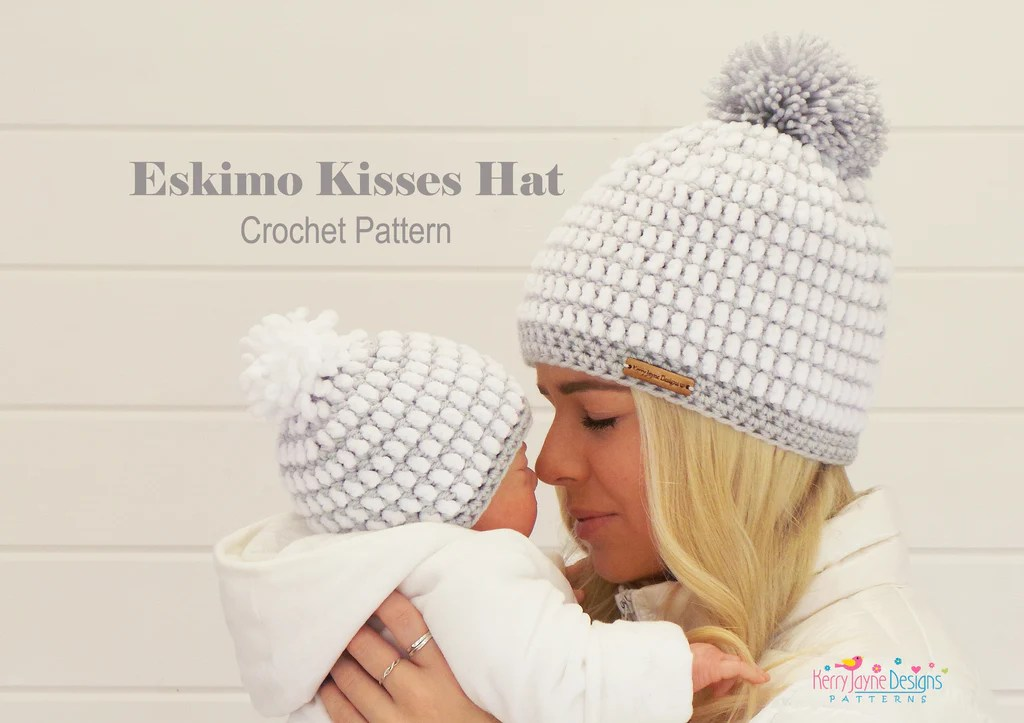 Eskimo Kisses Crochet Hat Pattern UK Kerry Jayne Designs