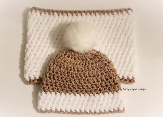 Nordic Snow Hat And Cowl Set 2 Crochet Pattern USA