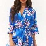 Blue Floral Robe Floral Robe Blue Blue Satin Robe Bridal Robes Prettyrobes Com