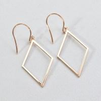 14K Rose Gold Diamond Shape Earrings - Rondels Jewelry