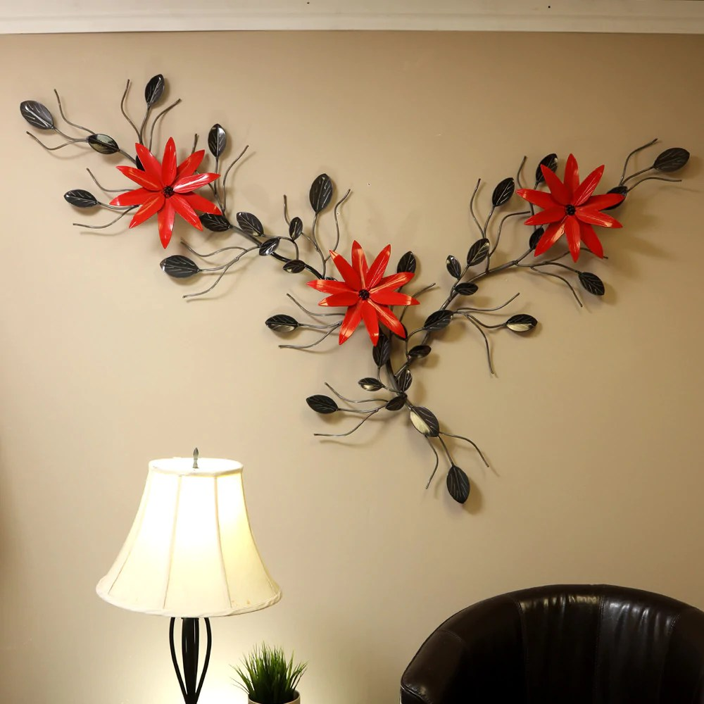 Flower Vine With Poinsettia Vines With Poinsettias Metal Wall Decor
