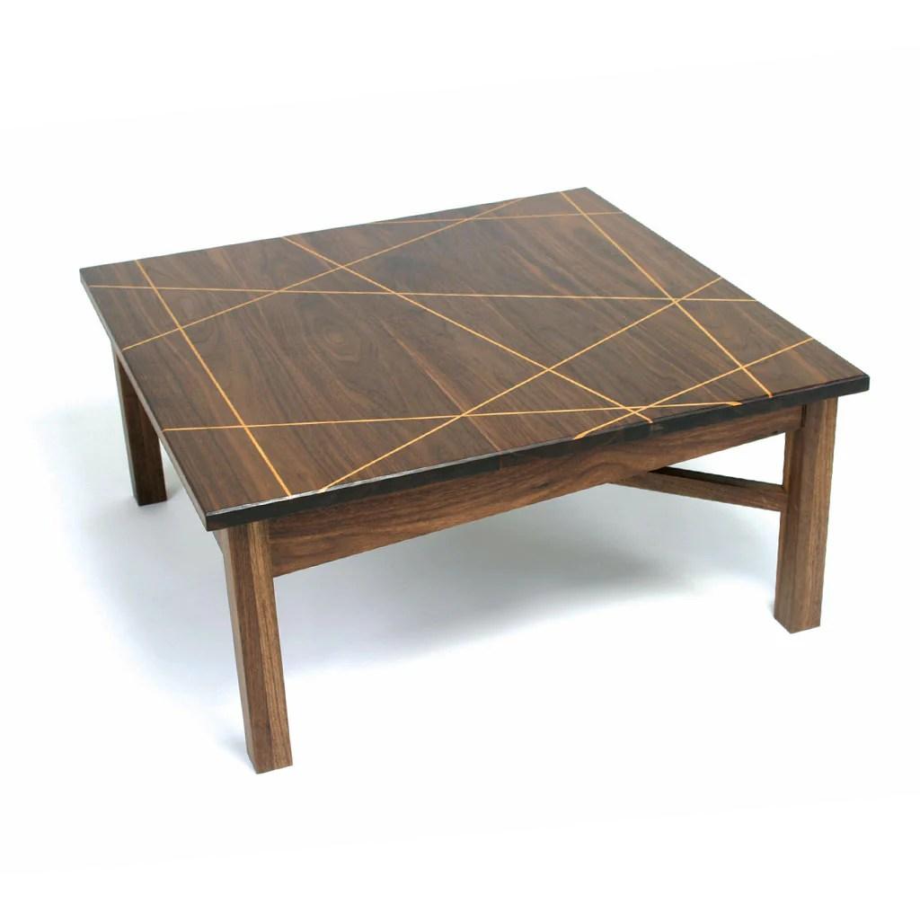 ingenious walnut coffee table with fibonacci led geometric pattern