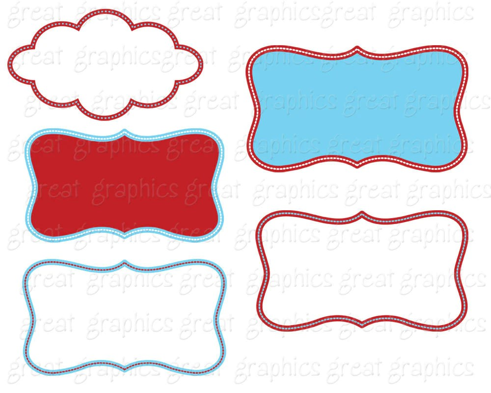 small resolution of  red and blue frame kids birthday party digital frame clipart printable red aqua frame clip art