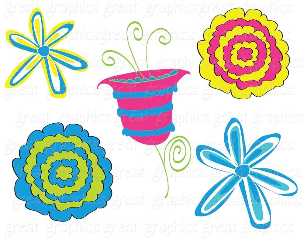 flower clipart digital clip art flowers whimsical flowers printable clipart flowers digital flower clip art  [ 1000 x 800 Pixel ]