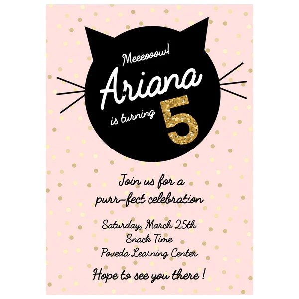 Pink Birthday Black Kitten Themed Birthday Invitation