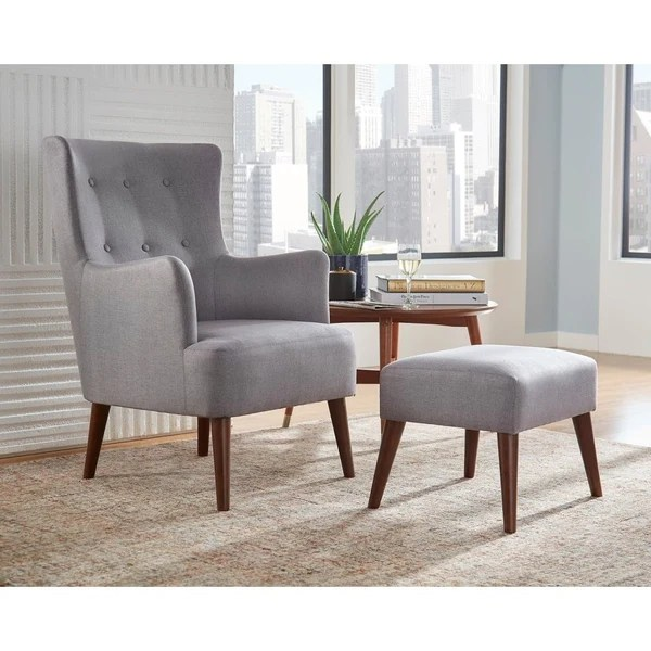 brown living room chairs decorative shelves ideas angelo home arm chair ottoman set jane in grey