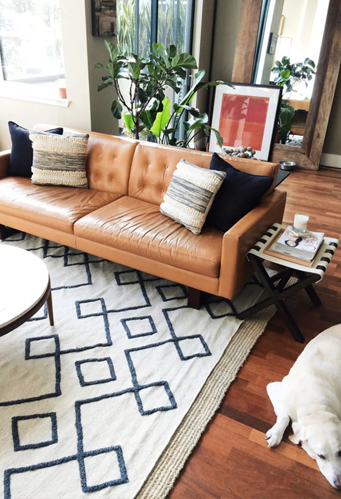camel colored leather sofas cheap grey corner 5 ways to style a sofa jaymee srp styling
