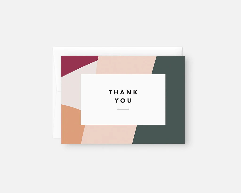 Pink Green And Orange Modern Thank You Notes