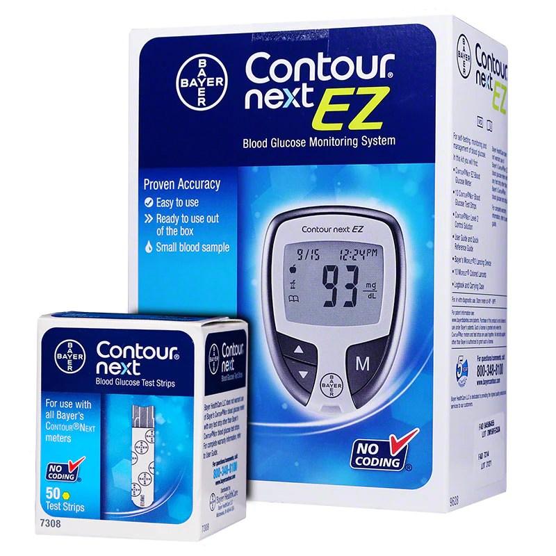 Bayer Contour Next EZ Glucose Meter Kit w/ 50 Test Strips ...