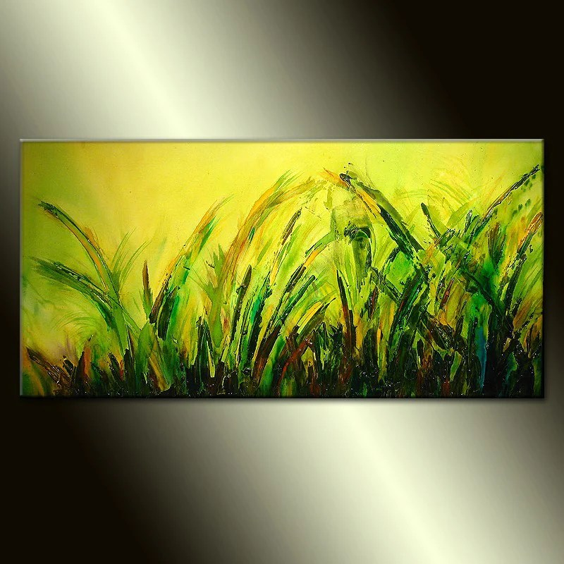 Green Textured Modern Landscape Abstract Painting Henry Parsinia 48 Wave Art