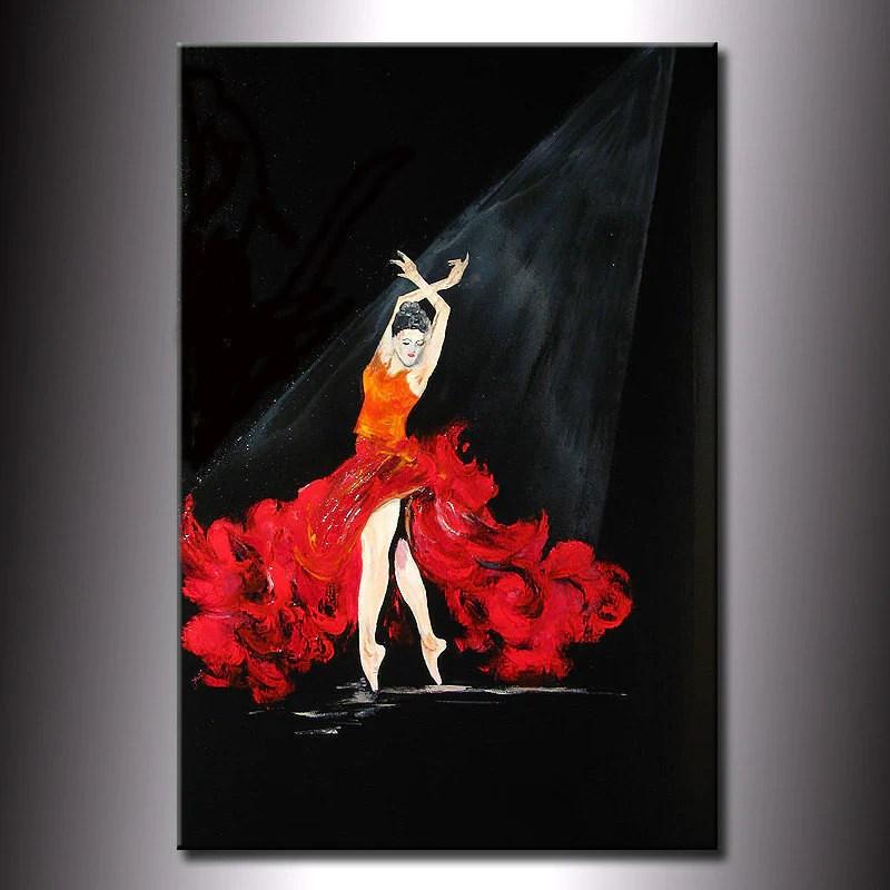 Original Abstract Painting Fine Art Flamenco Dancing Girl