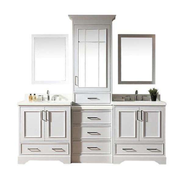 Ariel Stafford 85 White Contemporary Double Sink Bathroom Vanity M085 Dream Bathroom Vanities