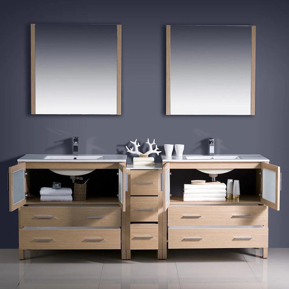 fresca torino 84 light oak modern double sink bathroom vanity w side cabinet integrated sinks