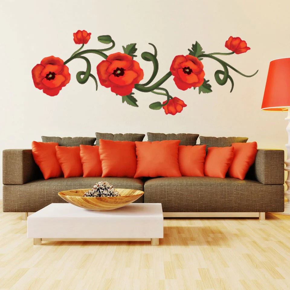 Poppy Wall Decal Red Poppy Flowers Wall Stickers Flowers Poppy Wall