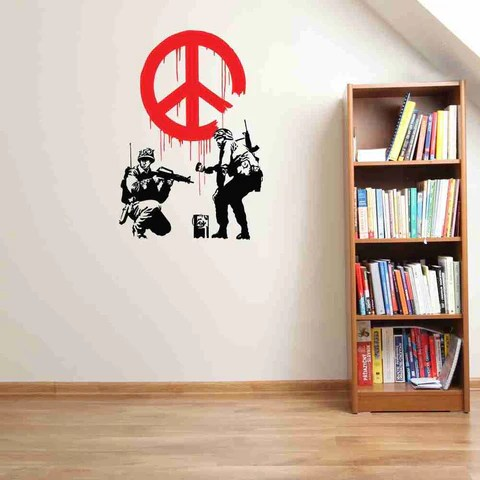 peace propaganda banksy wall decal sticker style and apply