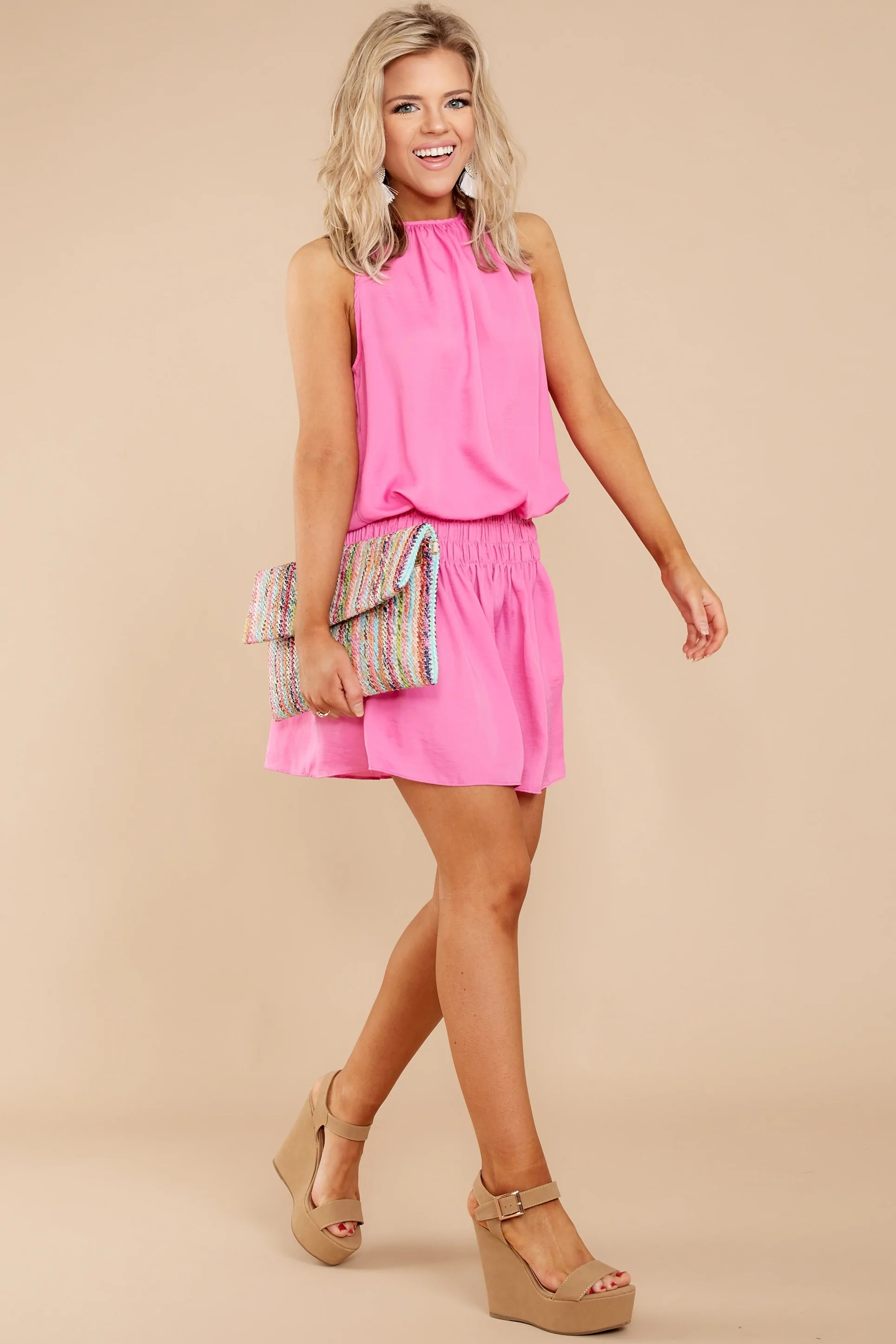 Cute Hot Pink Dress - Trendy 38.00 Red