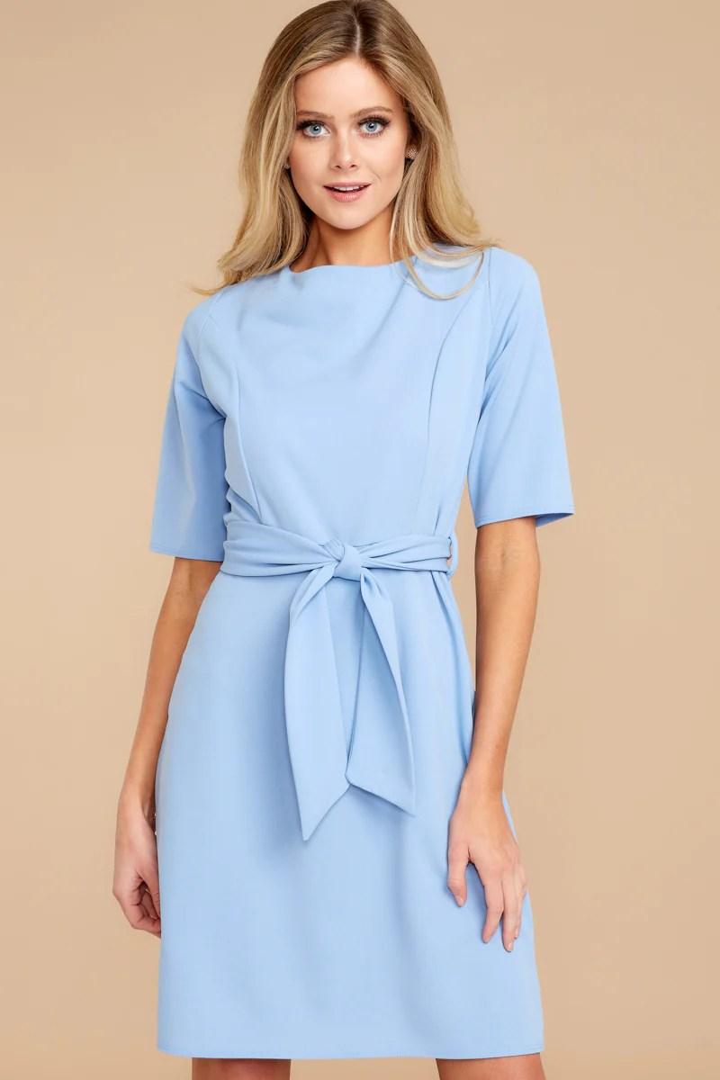 Cute Light Blue Dress - Chic 34 Red