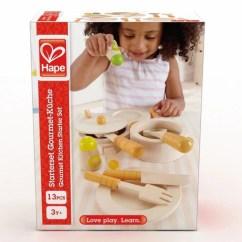 Hape Kitchen Wood Tile Gourmet Starter Set Halikids Inc