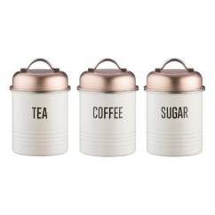 Kitchen Utensil Sets Unassembled Cabinets Typhoon Vintage Copper | Tea Coffee Sugar Canisters 3 ...