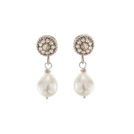 Pearl & White Gold Flower Twist Earrings