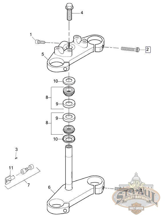 harley softail frame diagram phone connector wiring triple trees diagrams lose aa0714 2cz genuine buell upper and lower tree pinch bolt u9c fxdwg front fork