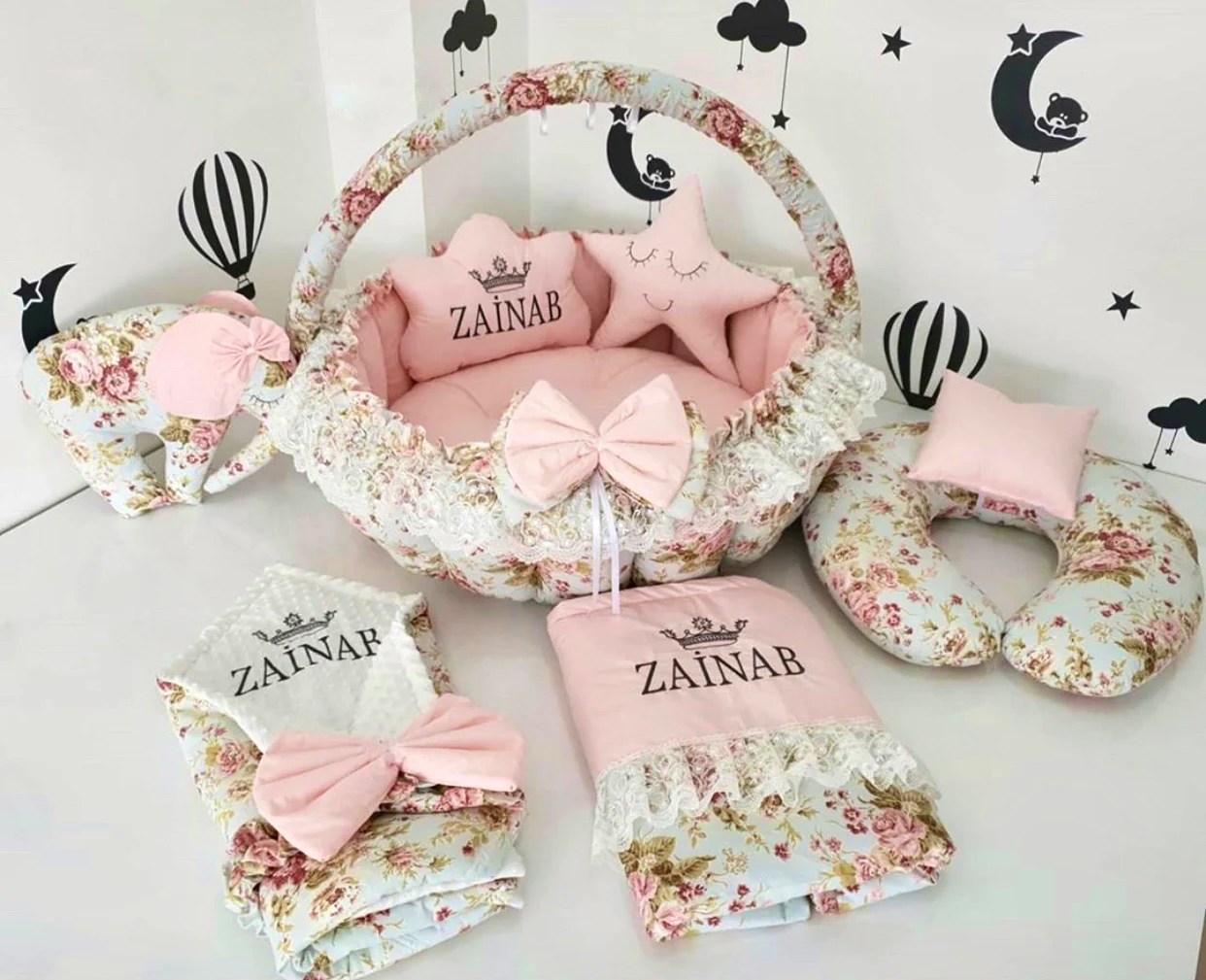 newborn floral garden personalized baby nest play mat nursing pillow swaddle blanket gift set